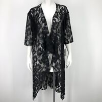 Lularoe Womens Small Shirley Floral Lace Kimono Solid Black Open Front Sheer S