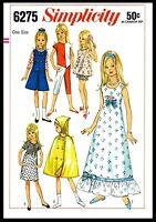 "~SIMPLICITY 6275~ DOLL Fabric Sewing Pattern Barbie Lil sister 9"" SKIPPER Dress"