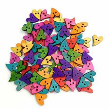 100PCS Wooden Buttons DIY Heart Buttons Scrapbooking Sewing Craft Accessories