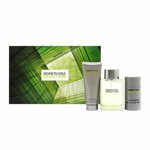 Kenneth Cole Reaction 3.4 oz EDT,After Shave Balm and Deodorant Stick Gift Set
