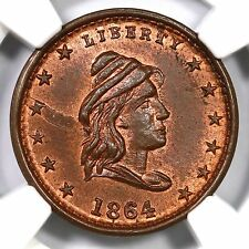 1864 F-47/332 a NGC MS 65 RB LIBERTY - OUR ARMY Civil War Token