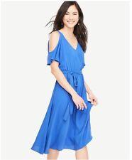 NWT Ann Taylor Short Sleeve Cold Shoulder Belted Dress   $149.00 NEW  Blue