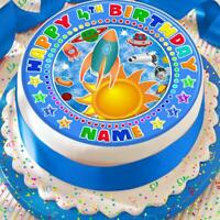 SPACE ROCKET BIRTHDAY PERSONALISED 7.5 INCH PRECUT EDIBLE CAKE TOPPER A184K