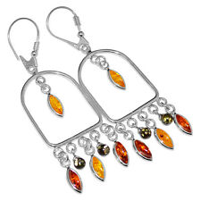 8.86g Authentic Baltic Amber 925 Sterling Silver Earrings Jewelry A8207