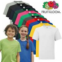 Kids T-Shirts Fruit of the Loom Childrens Plain Cotton T Shirt Youth Crew Tee
