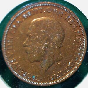 UK (Great Britain), 1932 Half Penny - Bronze - KM # 845