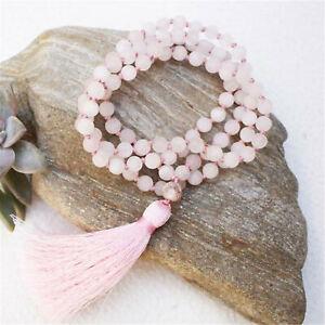 Natural Rose Quartz 108 Beads Handmade Tassel Necklace Chakra Wristband