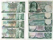 Royal BANK OF SCOTLAND £ 1 LB (ca. 0.45 kg) BANCONOTE 9 diverse 1967-1999