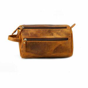 Vintage Leather Dual Zipper Toiletry Bag Men Dopp Kit Portable Travel Organizer