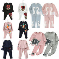 Baby Boys Girls Tracksuit Outfit Clothes 2-7 Years Old Cotton T-shirt+Pant 2PCS