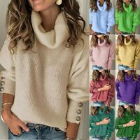 Fashion Women Bow Collar Buttons Sleeve Knitted Casual Sweater Warm Top AU