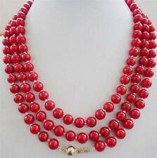 "NEW 14K natural 8mm red coral necklace 48"" Gold Clasp"