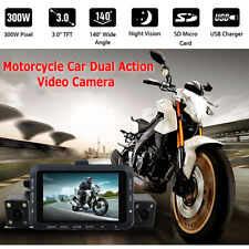 """3.0"""" Motorcycle Motorbike 140° Mounted Action HD Video Dual Camera DVR Camcorder"""