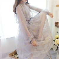 Lady Lolita Ruffled Dress Princess Puff Sleeve Dolly Tulle Skirt Embroidered New