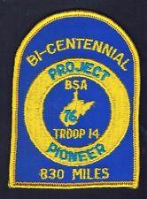 Troop 14 Bi-Centennial Project Pioneer 830 Miles 1976 YEL Brd BLU Bkg 600801