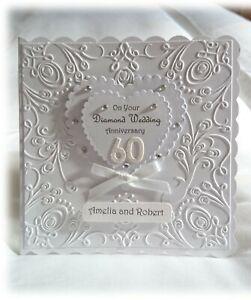 Luxury Personalised DIAMOND 60th Wedding 60th Anniversary Hand made card