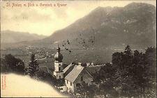 St. Anton bei Garmisch Partenkirchen 1906 Blick auf Kramer Kirche s/w Postkarte