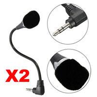 2X Mini 3.5mm Jack Flexible Microphone Speaker Mic For PC Laptop Notebook Skype