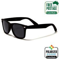 Polarised Retro Sunglasses - Matte Black Frame- Mens / Womens - Free Postage Aus