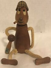 "VTG Hand Carved Wood Beer In Hand Man 5"" Figure w/ Bottle Opener Bar Accessory"