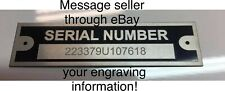Engraved Trailer Truck Car Rat Rod Plate Serial Tag Black Chevy Ford Dodge