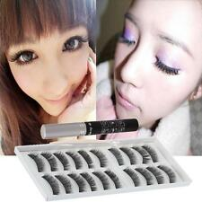10 Pairs Long Volume False Eyelashes Eye Lashes with Eyelashes Makeup Glue Black