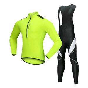 Men's Cycling Kit Long Sleeve Jersey Bib Pants Set Padded Legging Trousers Wear