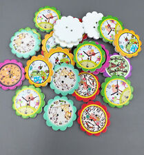 50pcs Wooden Animal prints Clocks flower Buttons Sewing Scrapbooking crafts 25mm