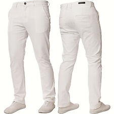 Mens Enzo DESIGNER Fashion Chinos Stretch SKINNY Slim Fit Jeans Pants All Sizes White 42 In. 32l
