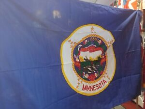 RARE ANTIQUE IN ORIGINAL BOX 1957 2ND OFFICIAL MINNESOTA STATE 4'x6' COTTON FLAG