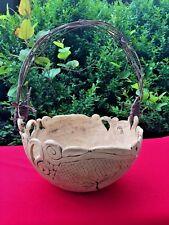Antique Primitive RAKU Pottery STUDIO Handmade Hand Spun BASKET with TWIG HANDLE