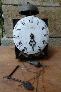Mouvement d'horloge début XVIII ème une aiguille une cloche deux marteaux