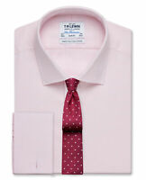 T.M.Lewin Mens  Slim Fit Pink Dogtooth Basket Weave Shirt – Double Cuff