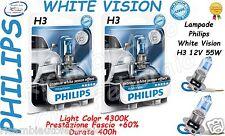 2 Lampade PHILIPS WHITE VISION H3 12V 55W 4300K  + 60% Di Luce Durata 400h