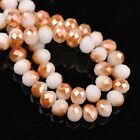 200pcs 6x4mm Rondelle Faceted Crystal Glass Loose Beads Wine&Opaque White