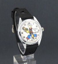 Rare ERROR 1970's wind-up Popeye & Swee Pea with Olive Oyl Comic Character Watch
