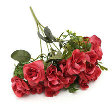 15 Head Glitter Buds Bunch Bouquet Artificial Flower Fake Silk Leaf Rose Wedding