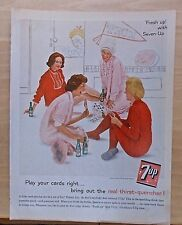 1961 magazine ad for Seven-Up -  Pajama Party with 7Up, Play your cards right