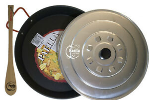 32cm - 60cm Non Stick Polished Steel Paella Pan + Lid + Gift - Wooden Spatula