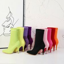 Fashion Womens Short Boots Candy Color High Heel Mid-calf Boot Pointed Toe Shoes