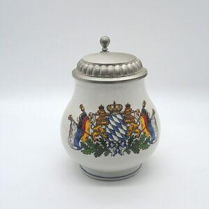 Bayrischer Bierkrug Krug ca. 14 x 11 cm Wappen Löwe Krone Bayern Bavarian Mug