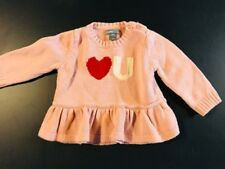 INFANT GIRLS BABY GAP Valentines PINK HEART LOVE U PULLOVER SWEATER SIZE 3-6 MO