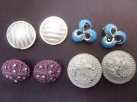 Vintage Earrings Lot 4 pr Karu Blue, Lilac Crystal, White Floral, Pearl, Clip EX