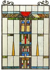 """25"""" x 17.5"""" Mission Towers Tiffany Style Stained Glass Window Panel"""