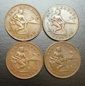 1944-S US PHILIPPINES ONE CENTAVO LOT OF 4 VF COPPER WWII COINS KM 179