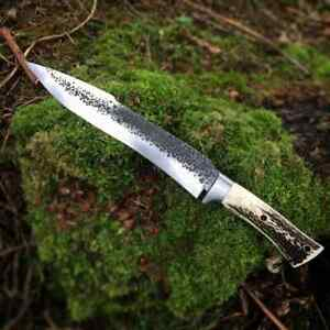 Custom Hand Forged J2 Stainless Steel Hunting Knife with Stag/Antler Handle