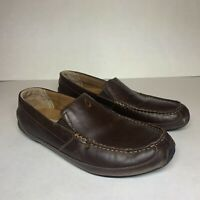 OluKai Akepa Moc Leather Slip On Loafers Driving Men's  Size 10.5 Brown