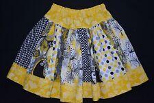 Girl's yellow and black stripe skirt, size 5 - handmade