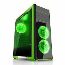 CIT Flash Midi Tower PC Nero Verde eSPORTS gioco in vetro temperato CASE USB 3.0