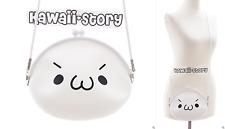 LB-45-4 Onigiri Emoji Gesicht Silikon weiß Pastel Goth Harajuku Tasche Japan